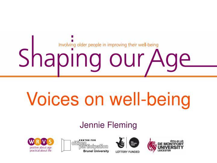 Voices on well-being