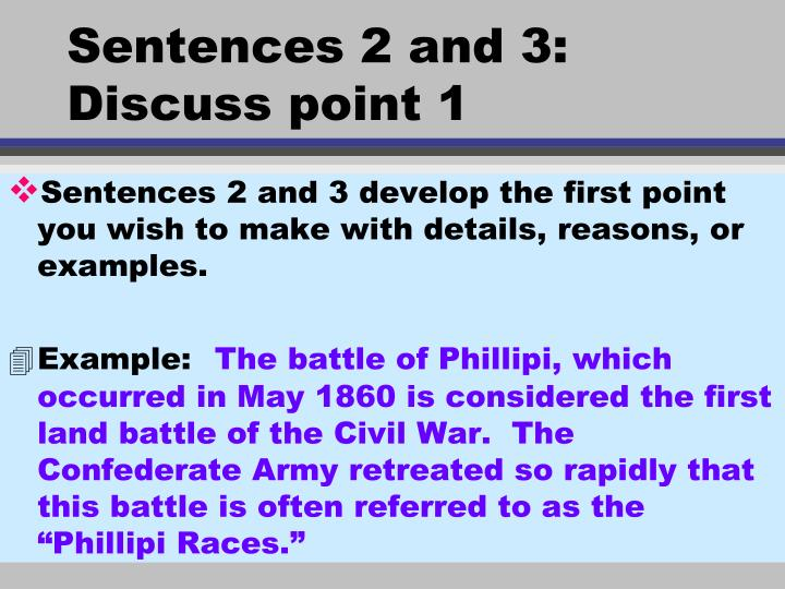 Sentences 2 and 3: