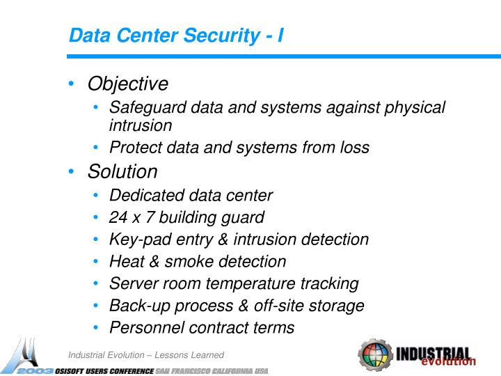 Data Center Security - I
