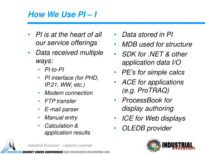 PI is at the heart of all our service offerings