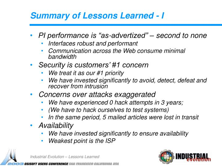 Summary of Lessons Learned - I