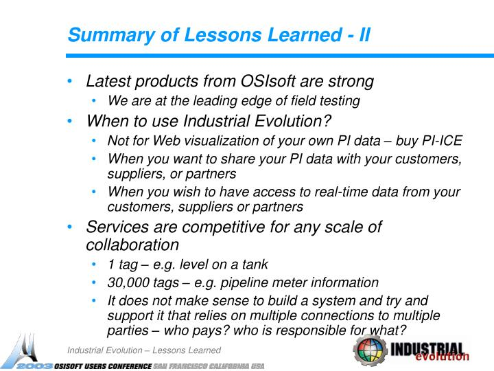 Summary of Lessons Learned - II