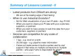 summary of lessons learned ii