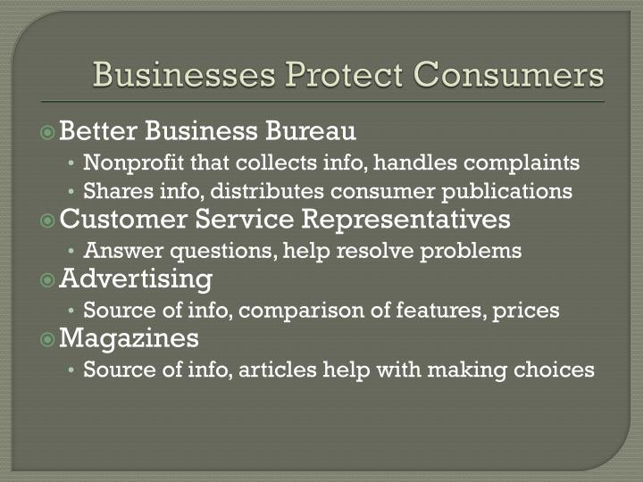 Businesses Protect Consumers