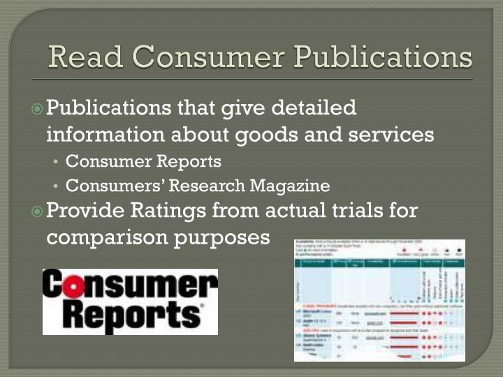 Read Consumer Publications