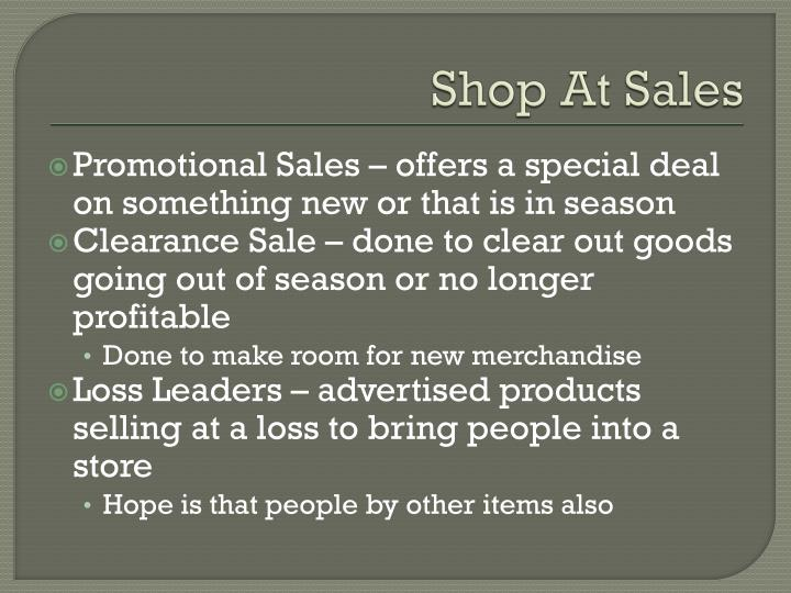 Shop At Sales
