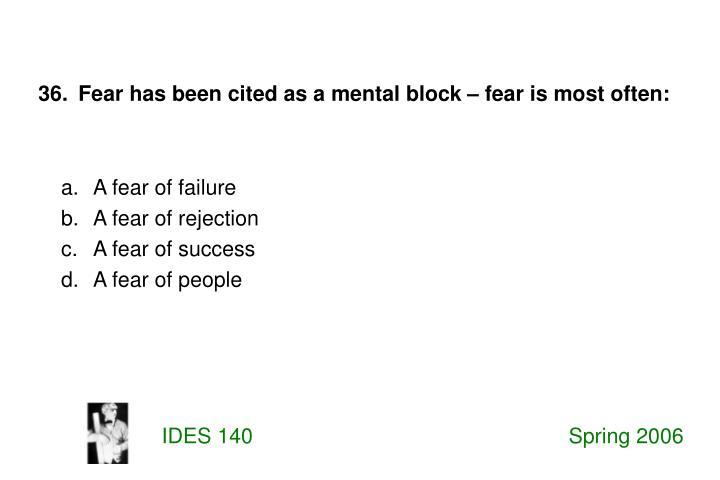 A fear of failure