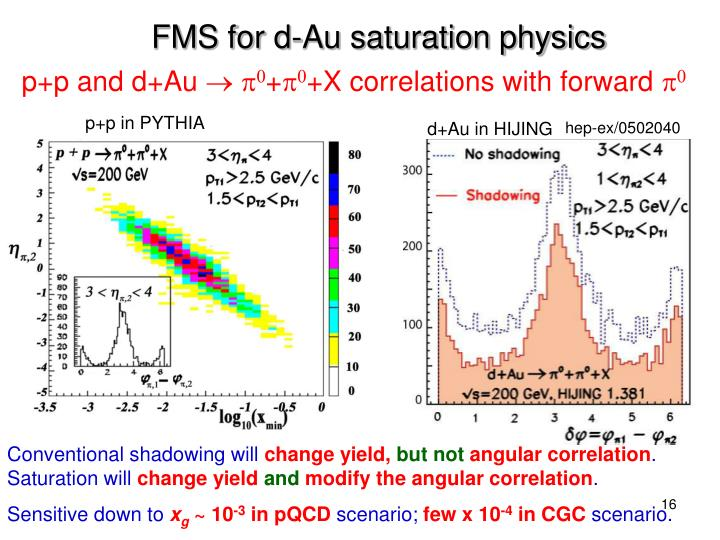 FMS for d-Au saturation physics
