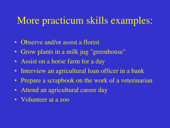 More practicum skills examples: