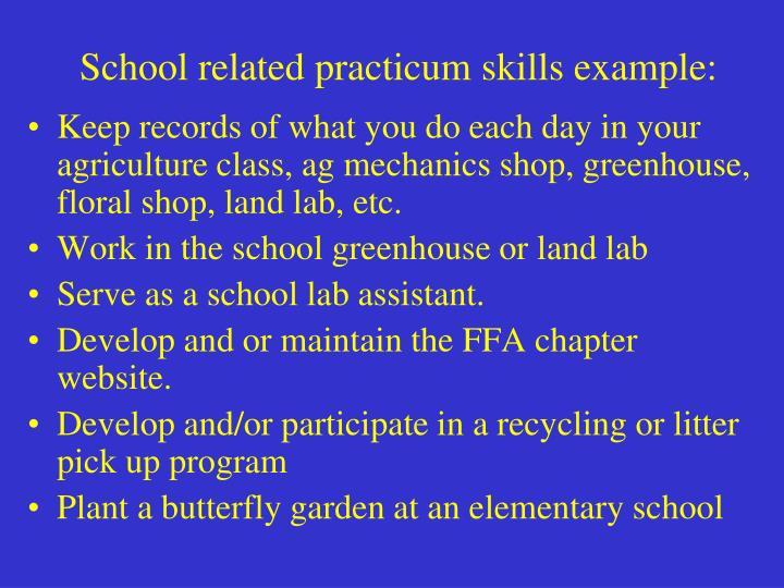 School related practicum skills example: