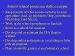 school related practicum skills example