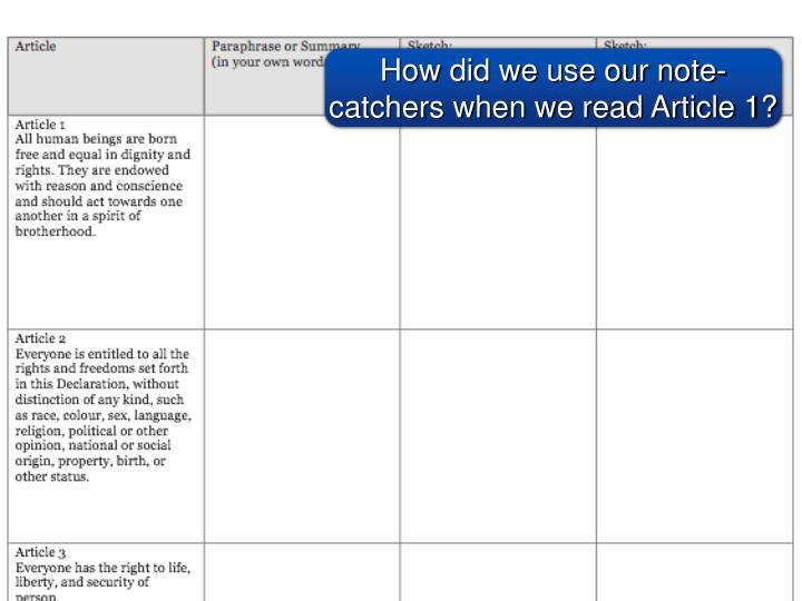 How did we use our note-catchers when we read Article 1?