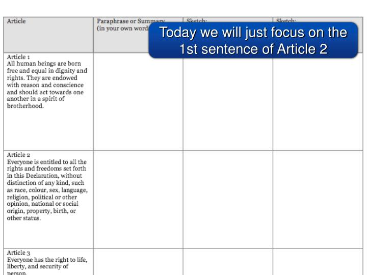 Today we will just focus on the 1st sentence of Article 2