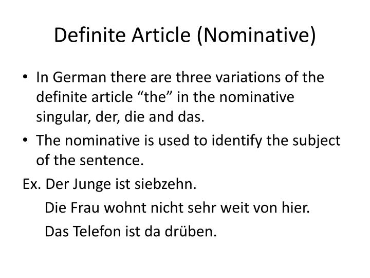 Definite Article (Nominative)