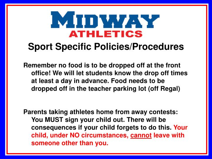 Sport Specific Policies/Procedures