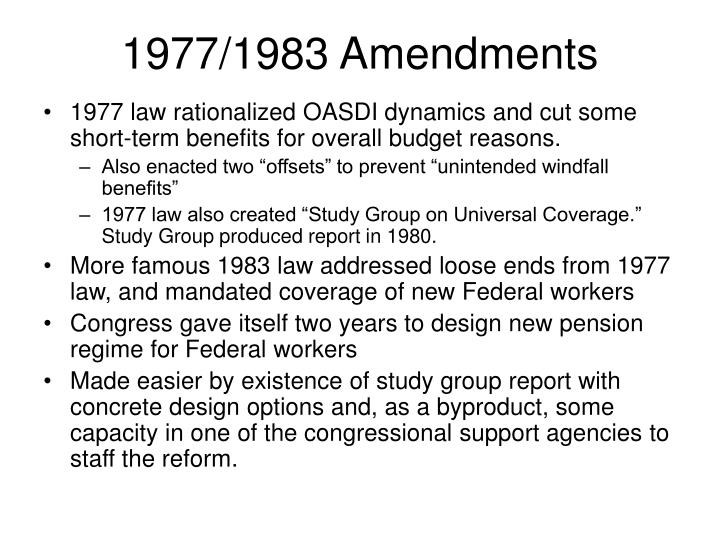1977/1983 Amendments