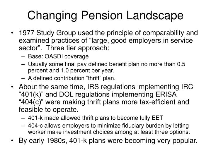 Changing Pension Landscape