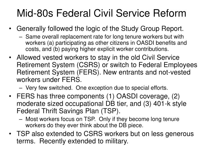 Mid-80s Federal Civil Service Reform