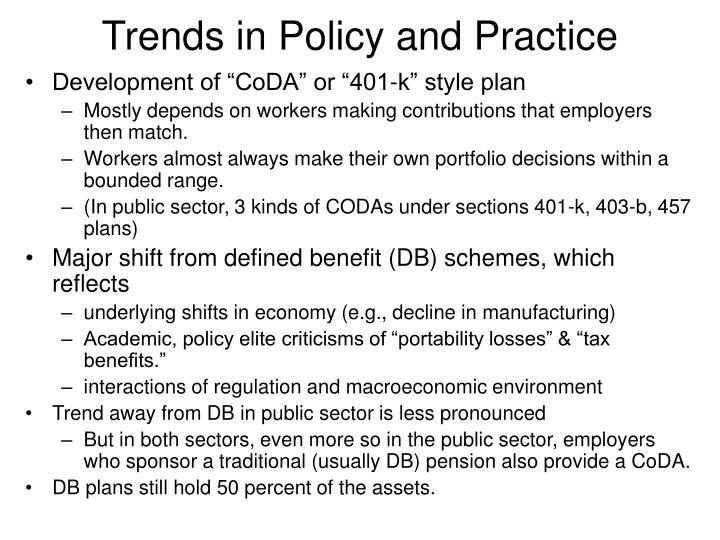 Trends in Policy and Practice