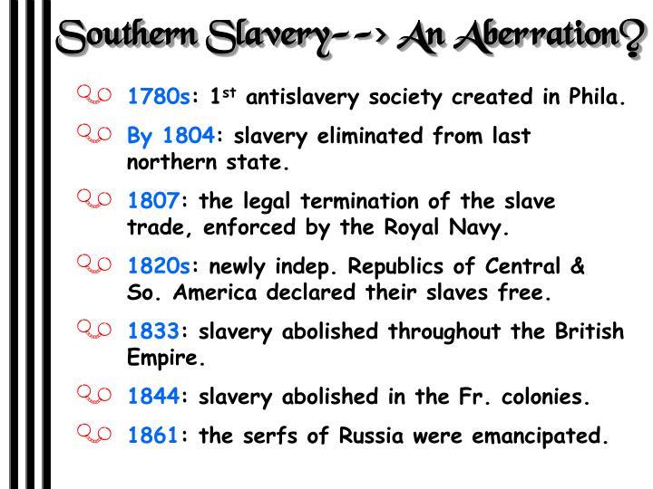 Southern Slavery--> An Aberration?