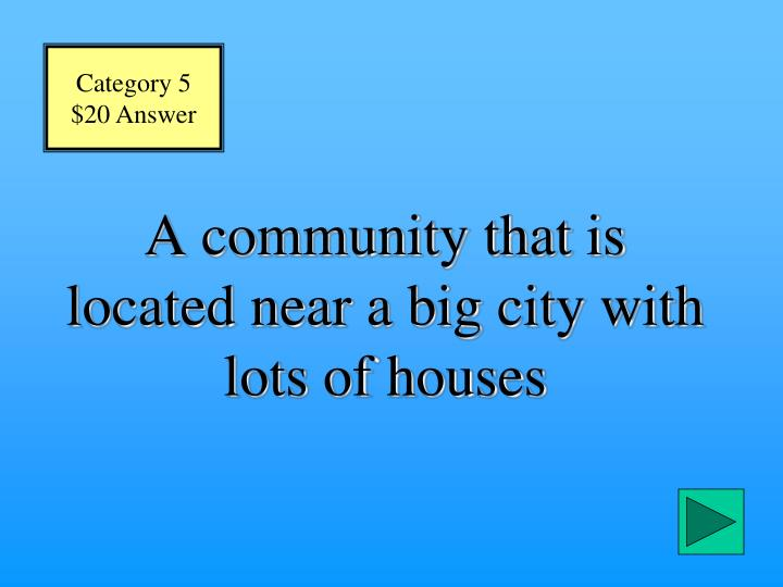 A community that is located near a big city with lots of houses