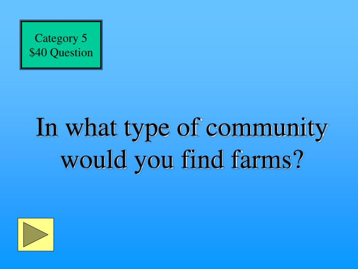 In what type of community would you find farms?