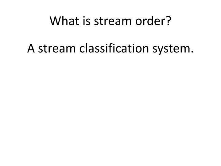 What is stream order?