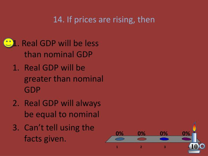 14. If prices are rising, then
