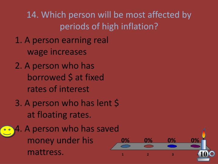 14. Which person will be most affected by periods of high inflation?