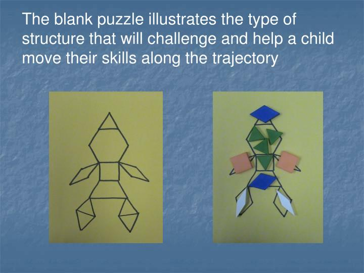 The blank puzzle illustrates the type of structure that will challenge and help a child move their skills along the trajectory