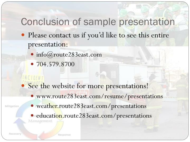 Conclusion of sample presentation