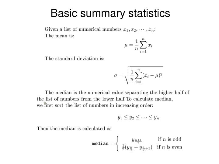 Basic summary statistics