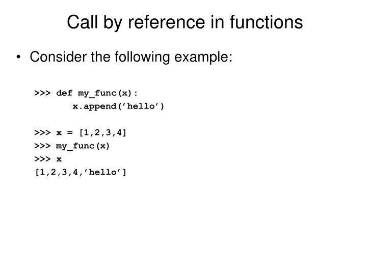 Call by reference in functions