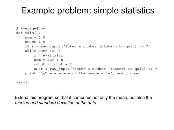 Example problem: simple statistics