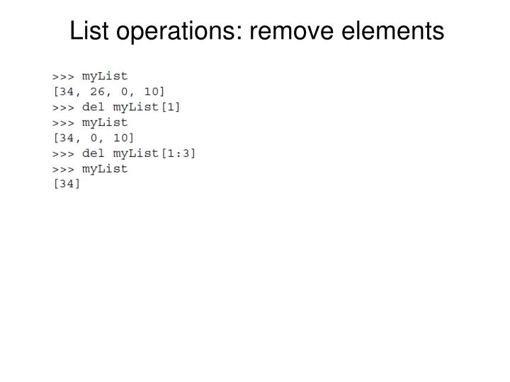 List operations: remove elements