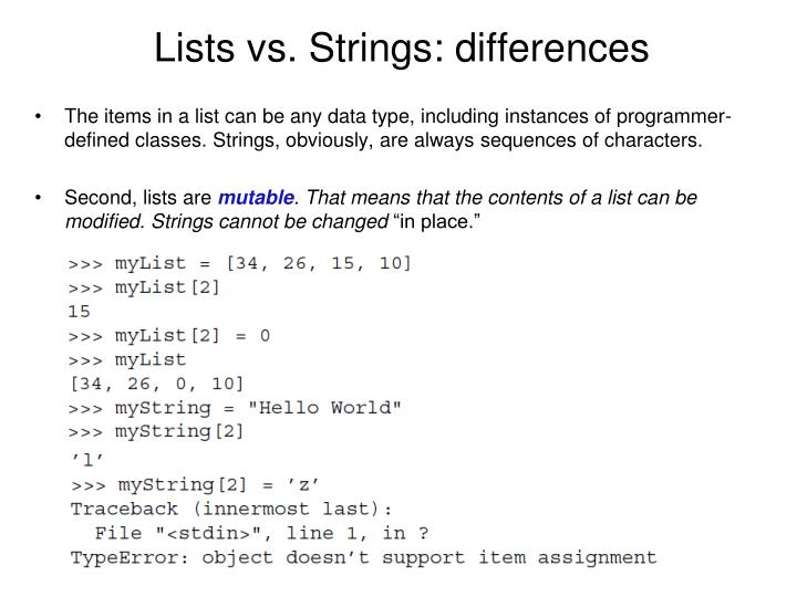Lists vs. Strings: differences
