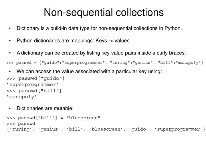 Non-sequential collections
