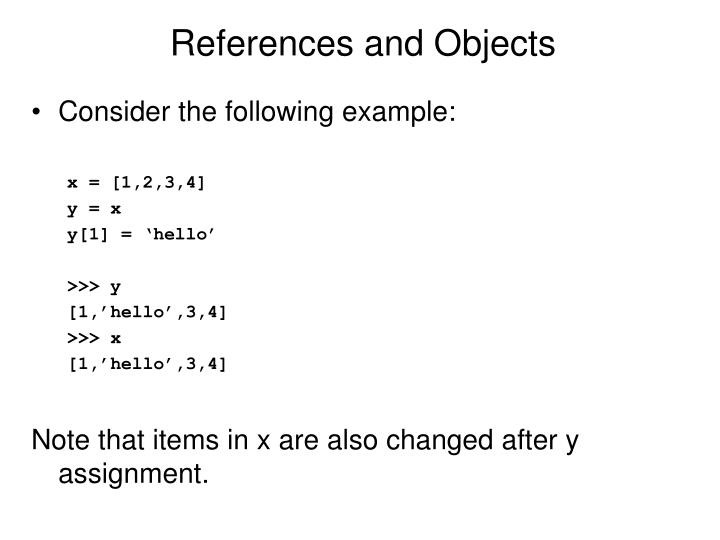 References and Objects
