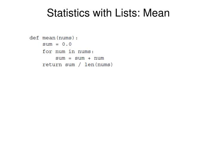Statistics with Lists: Mean