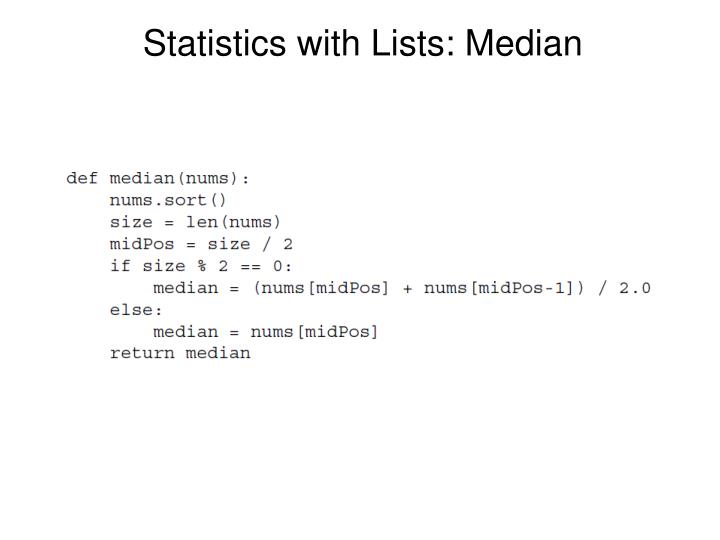Statistics with Lists: Median
