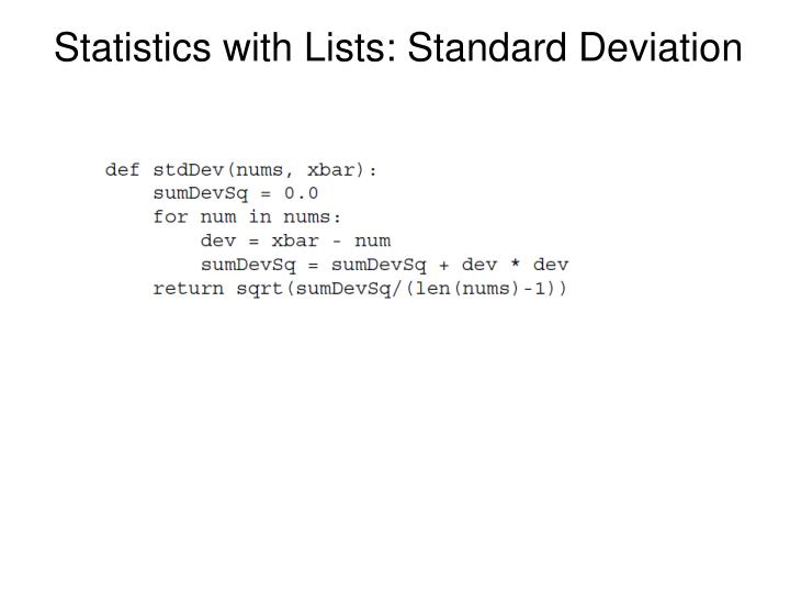 Statistics with Lists: Standard Deviation