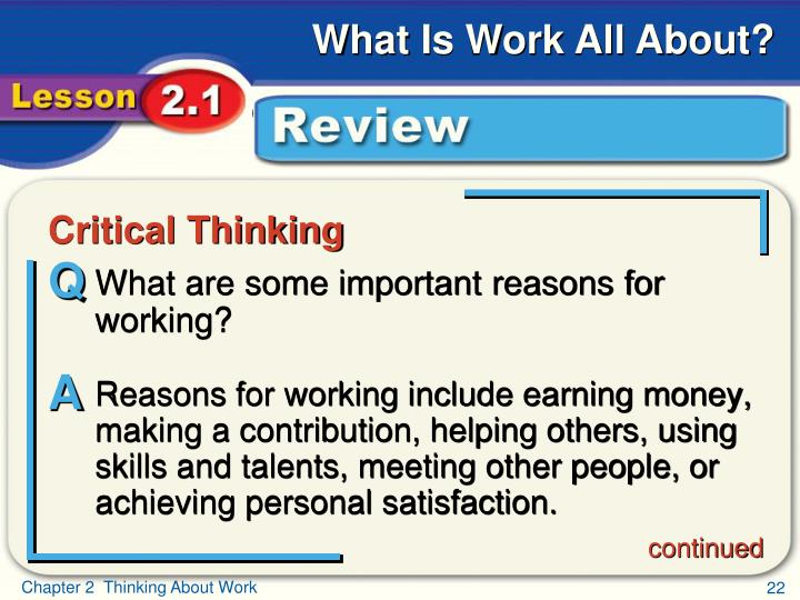 What are some important reasons for working?