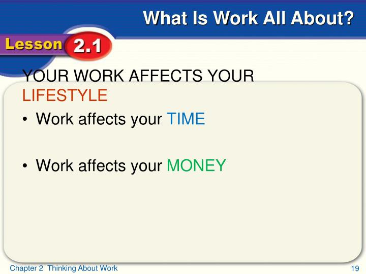 YOUR WORK AFFECTS YOUR