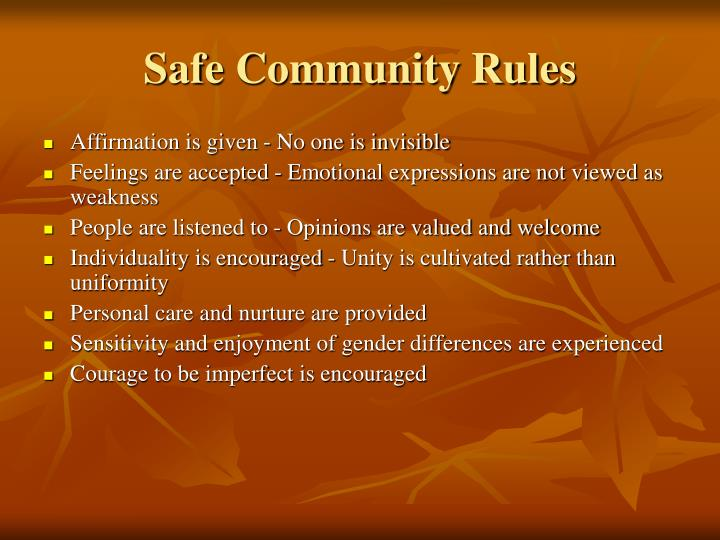 Safe Community Rules