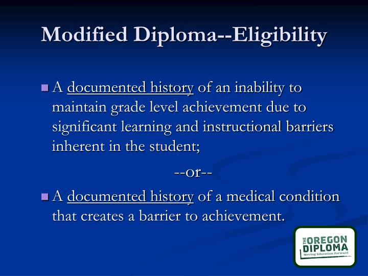 Modified Diploma--Eligibility