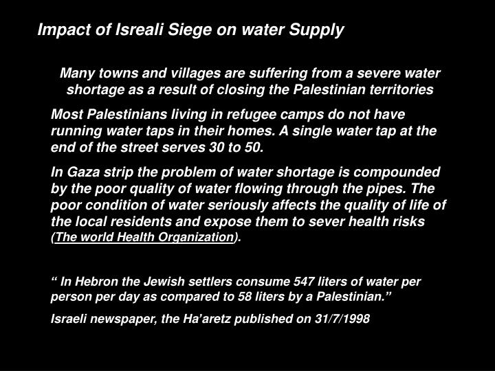 Impact of Isreali Siege on water Supply