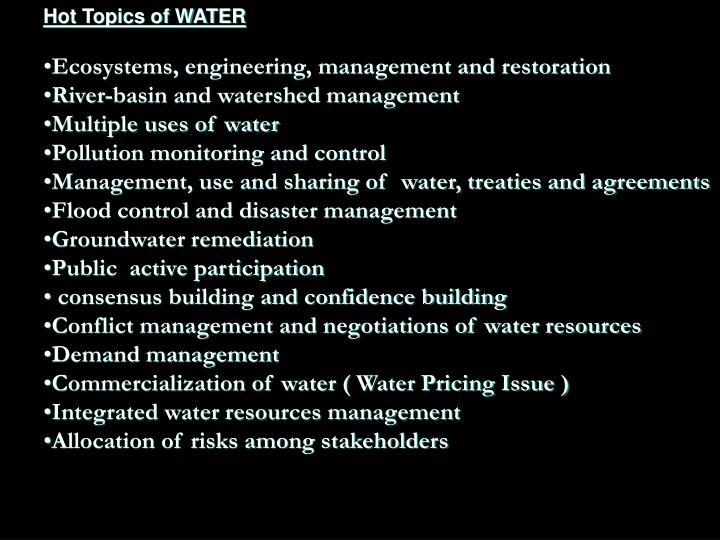 Hot Topics of WATER