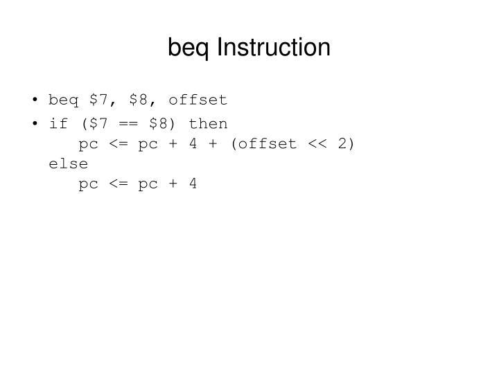 beq Instruction