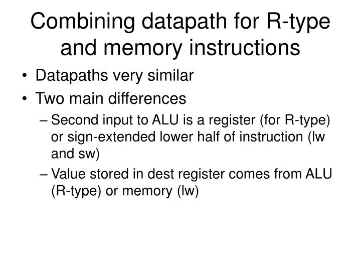 Combining datapath for R-type and memory instructions
