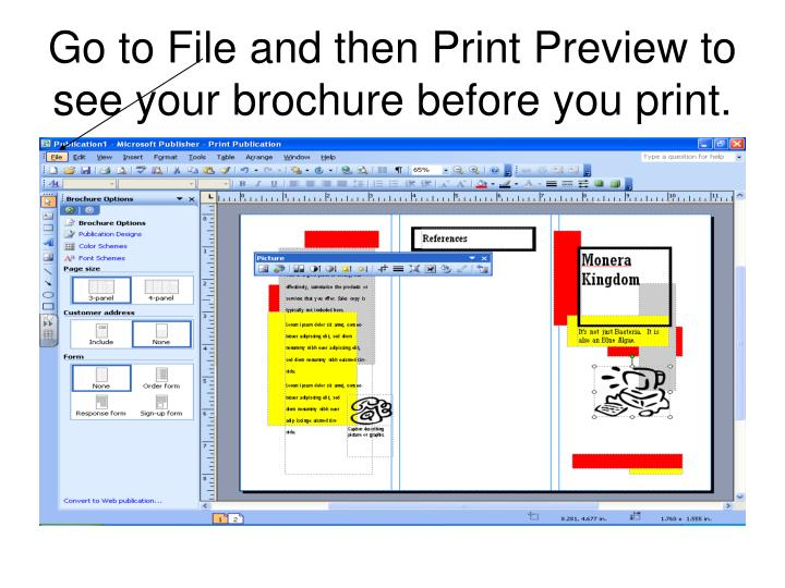 Go to File and then Print Preview to see your brochure before you print.